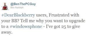 ¿Frustrado con tu BlackBerry?  Llévate un Windows Phone gratis