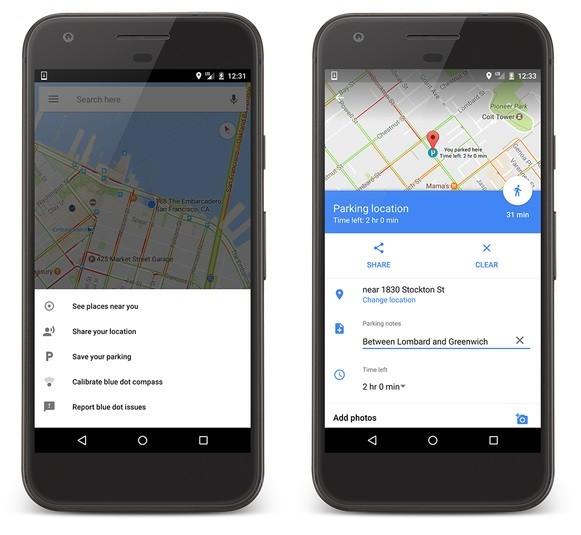función de estacionamiento de google-maps