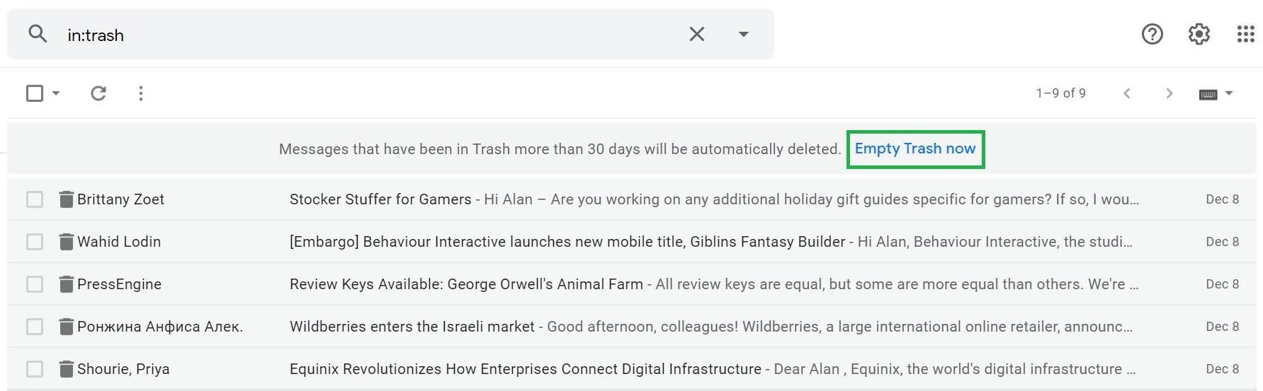 Paso 3: Cómo vaciar la papelera en Gmail