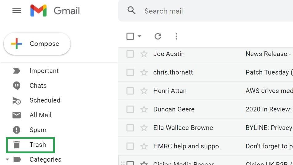 Paso 2: Cómo vaciar la papelera en Gmail