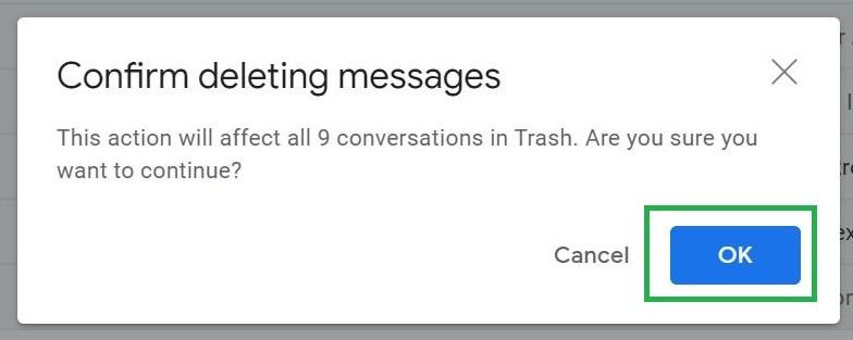 Paso 4: Cómo vaciar la papelera en Gmail