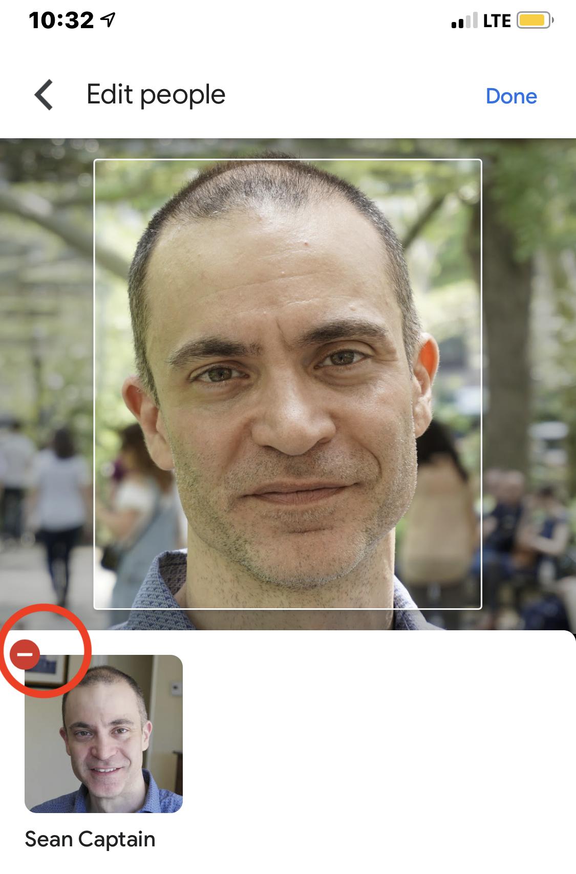 Eliminar una imagen del álbum basado en rostros.