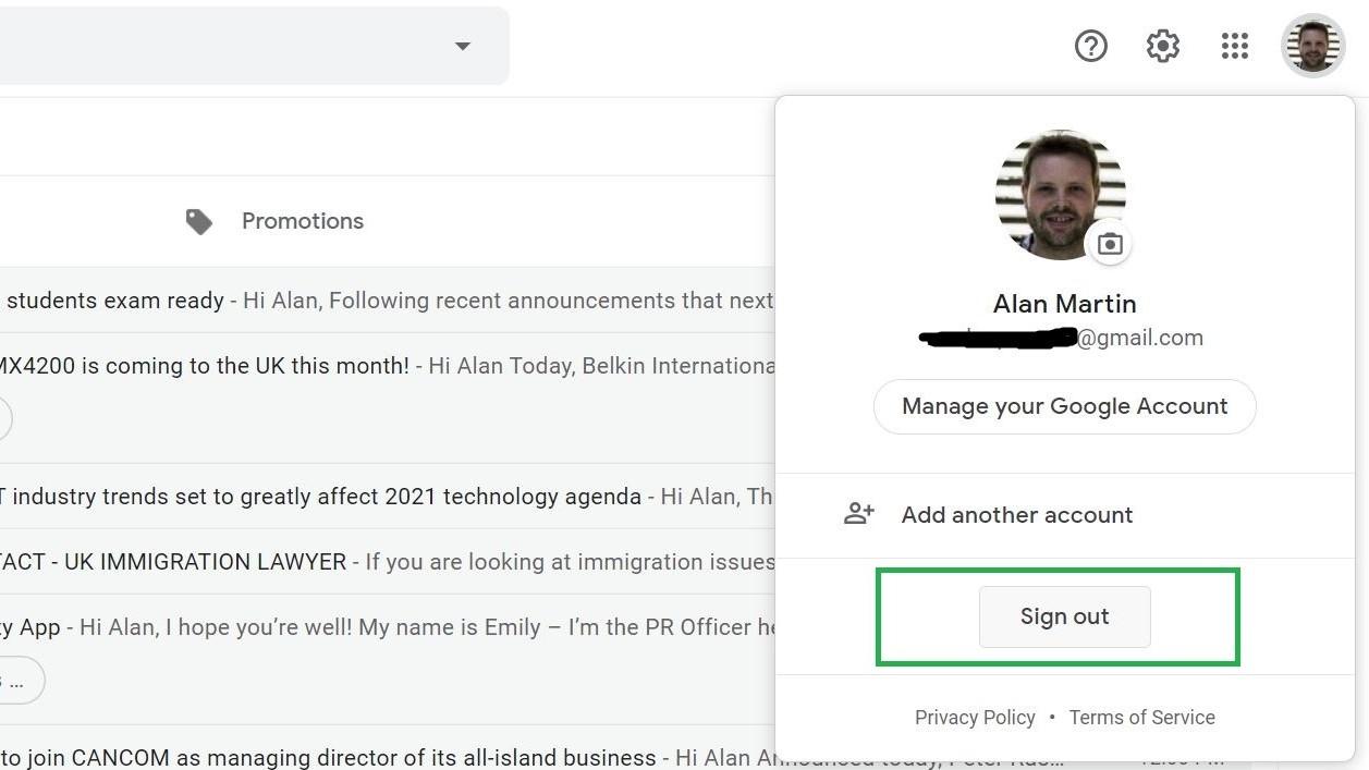Paso 2: Cómo cerrar sesión en Gmail