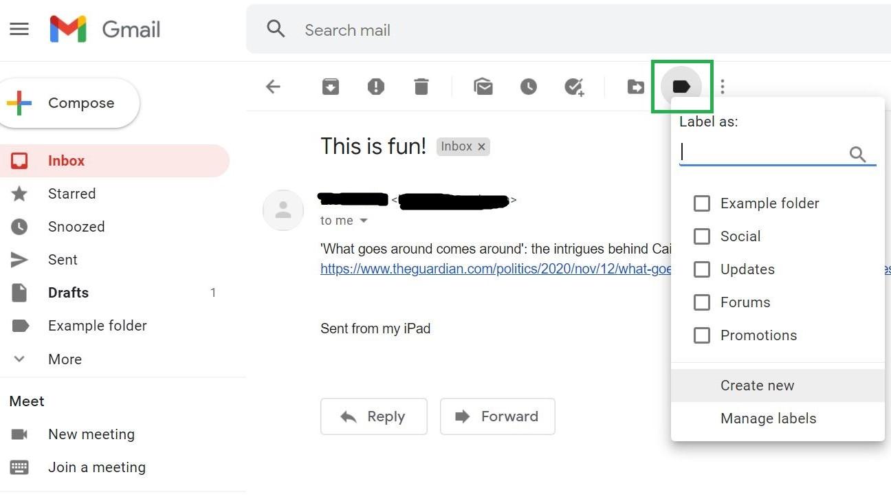 Paso 8: Cómo crear carpetas en Gmail