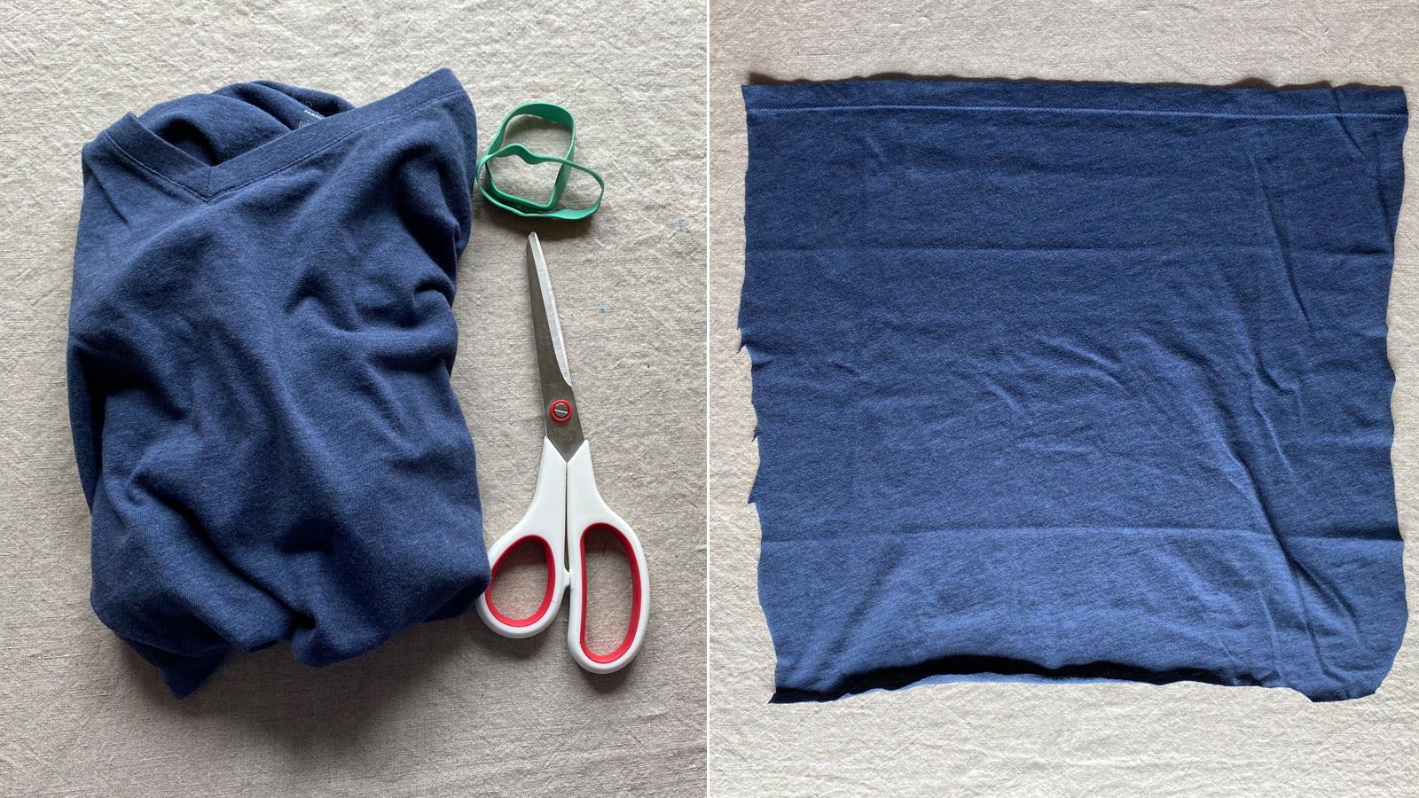 Cómo hacer una mascarilla sin costuras con una camiseta