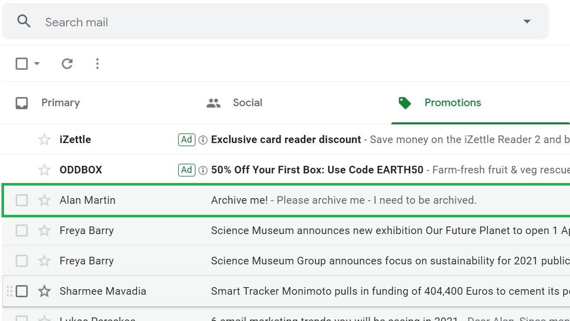 Paso 1: Cómo archivar el correo electrónico en Gmail