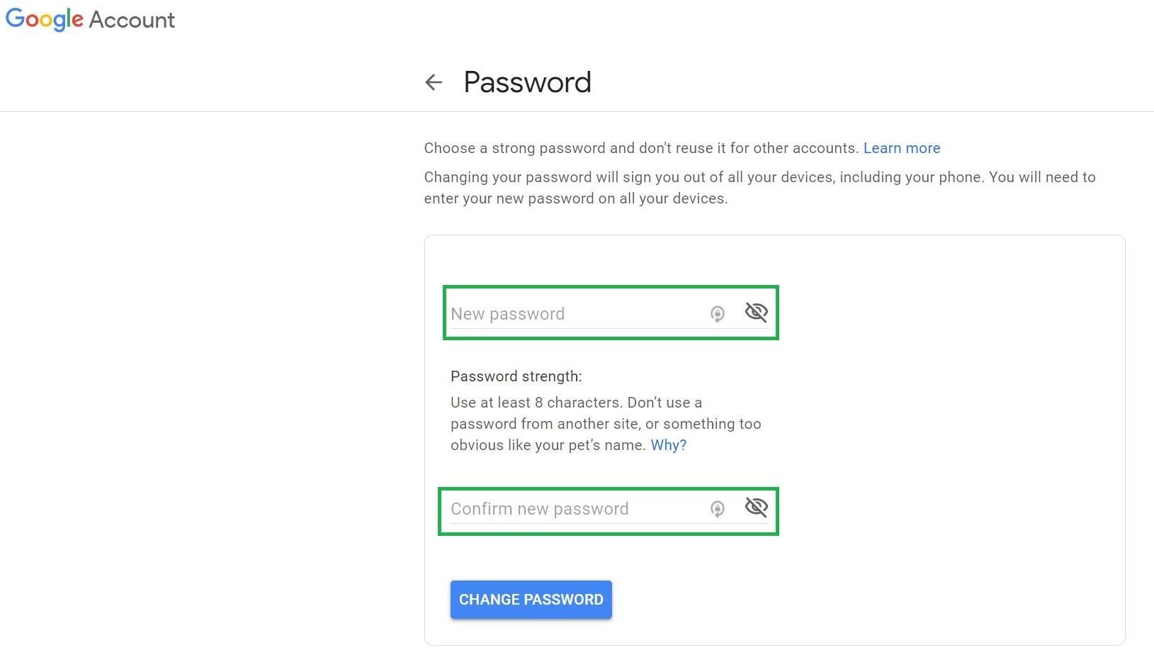 Paso 4: Cómo cambiar la contraseña en Gmail