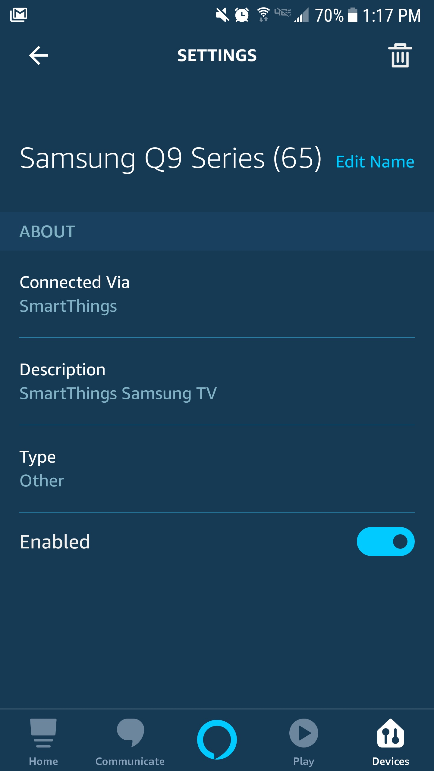 Conecte Samsung TV a Alexa - menú del dispositivo de la aplicación Amazon Alexa