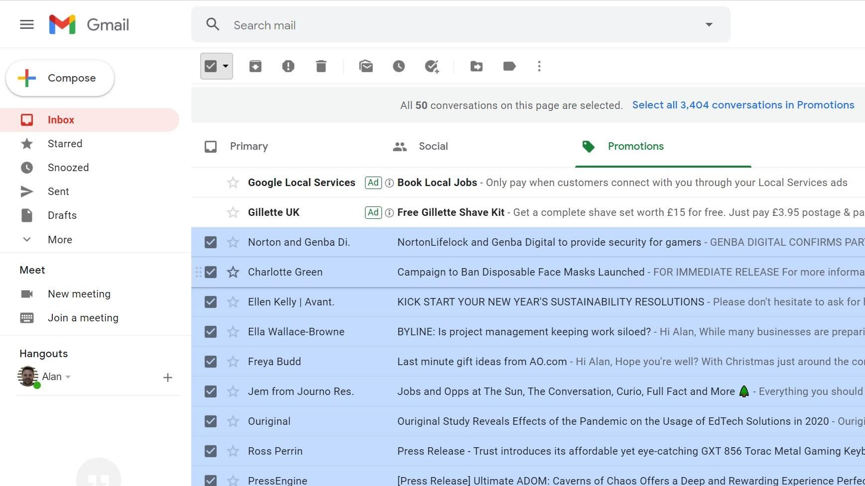 Paso 2: Cómo eliminar todo el correo electrónico en gmail