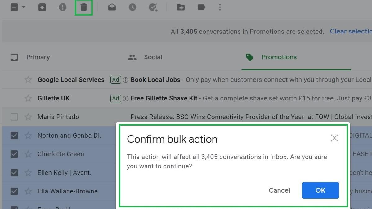Paso 4: Cómo eliminar todo el correo electrónico en Gmail