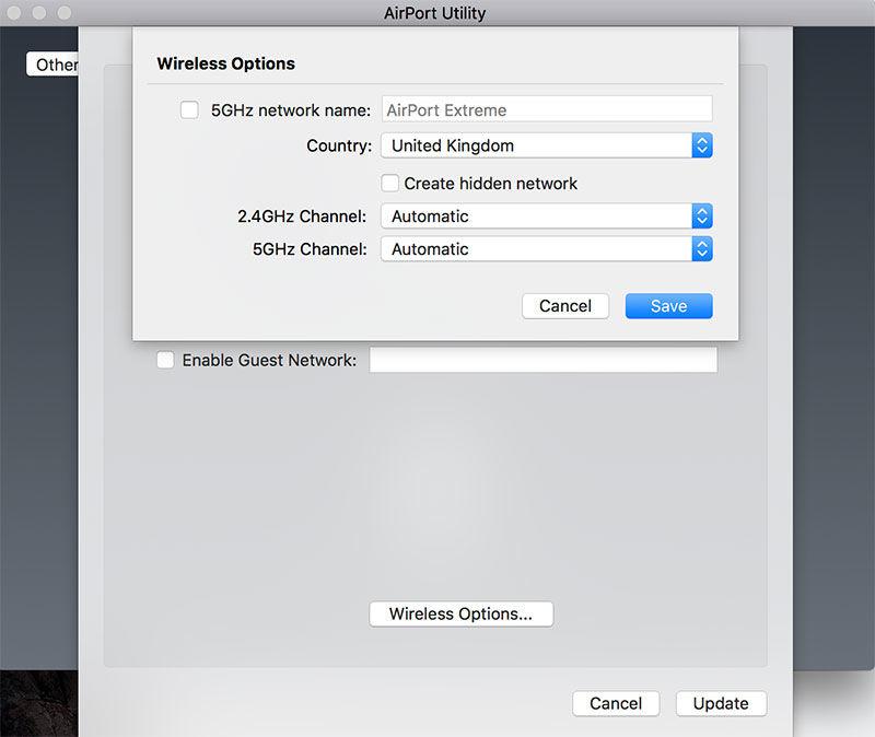 Cambiador de canales AirPort Extreme