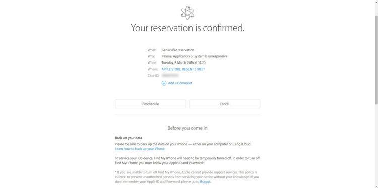 Cómo reservar una cita en el Genius Bar de una Apple Store: reserva confirmada