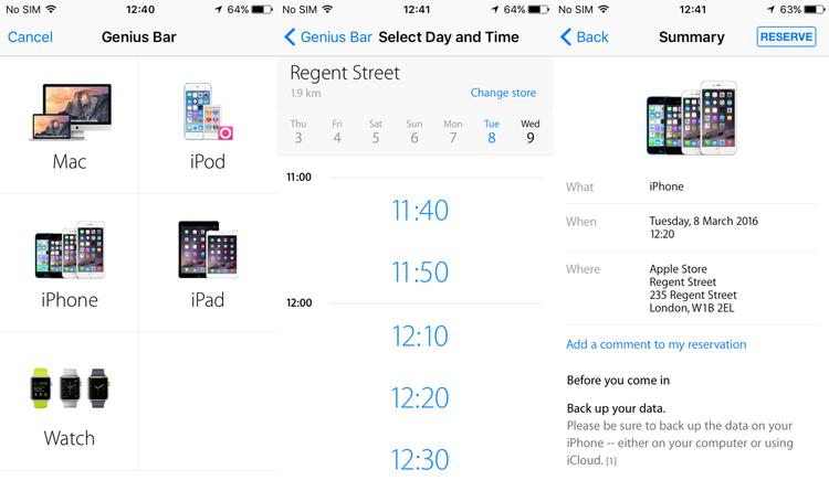 Cómo reservar una cita en el Genius Bar de una Apple Store: seleccionar una tienda en la aplicación