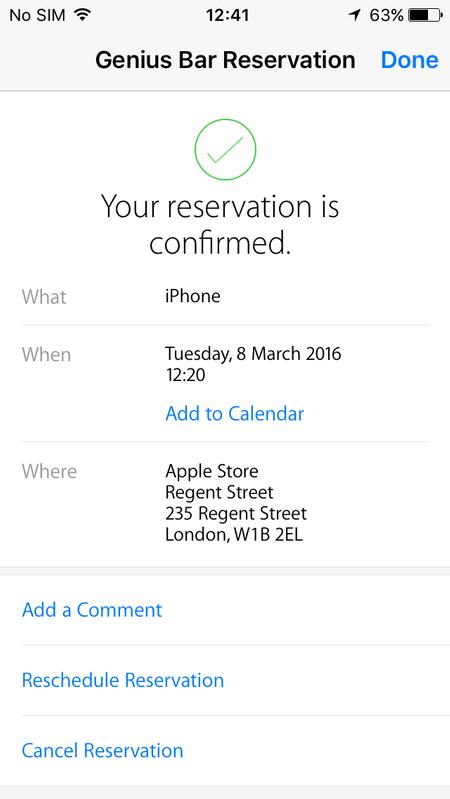 Cómo reservar una cita en el Genius Bar de una Apple Store: confirmación de la aplicación