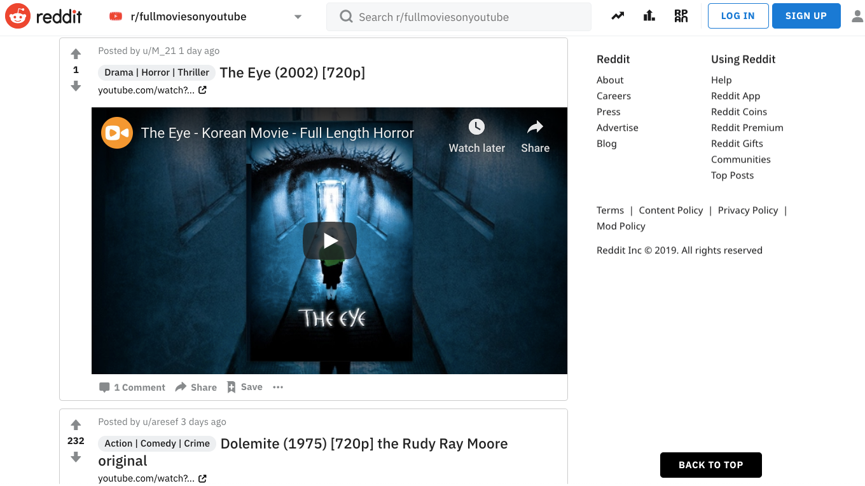 Cómo ver películas gratis en iPad y iPhone: Reddit