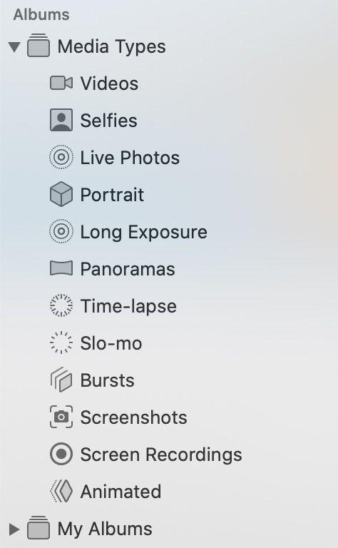 Tipos de medios Fotos Mac