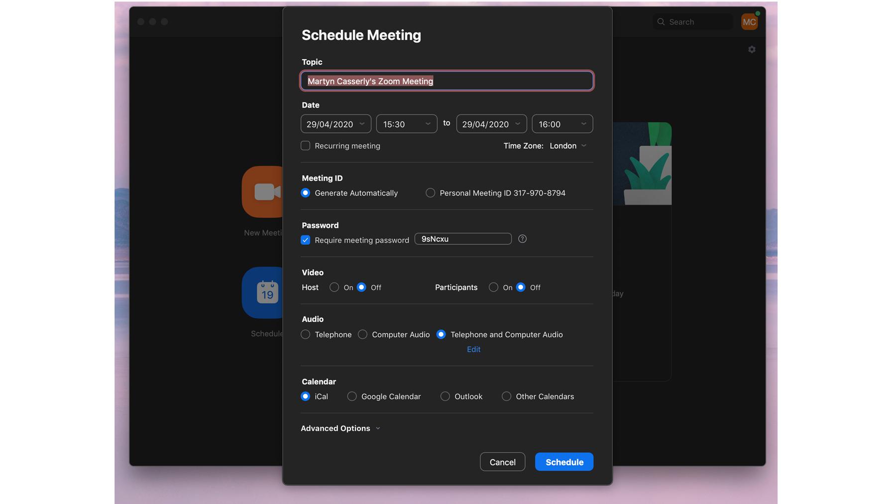 Cómo configurar y usar Zoom en Mac: Programación de reuniones