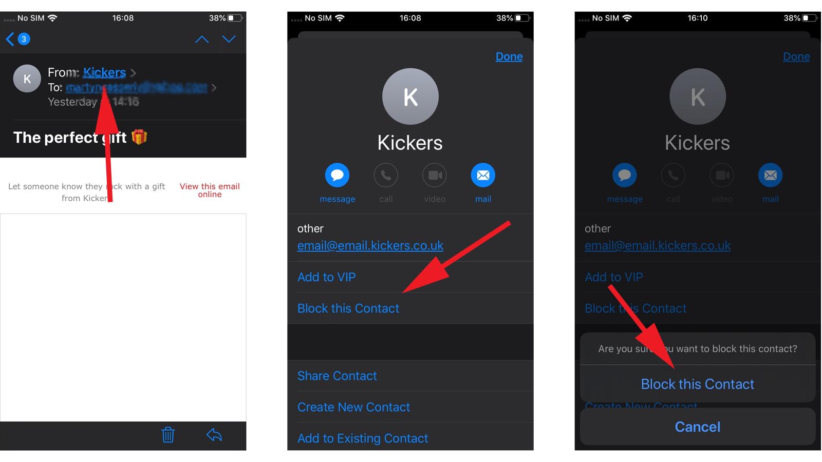 Cómo darse de baja del correo basura en iOS 13: bloquear este contacto