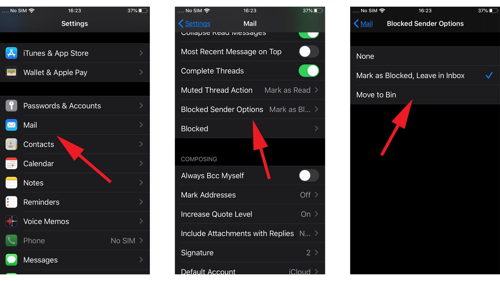 Cómo darse de baja del correo basura en iOS 13: opciones de remitente bloqueado
