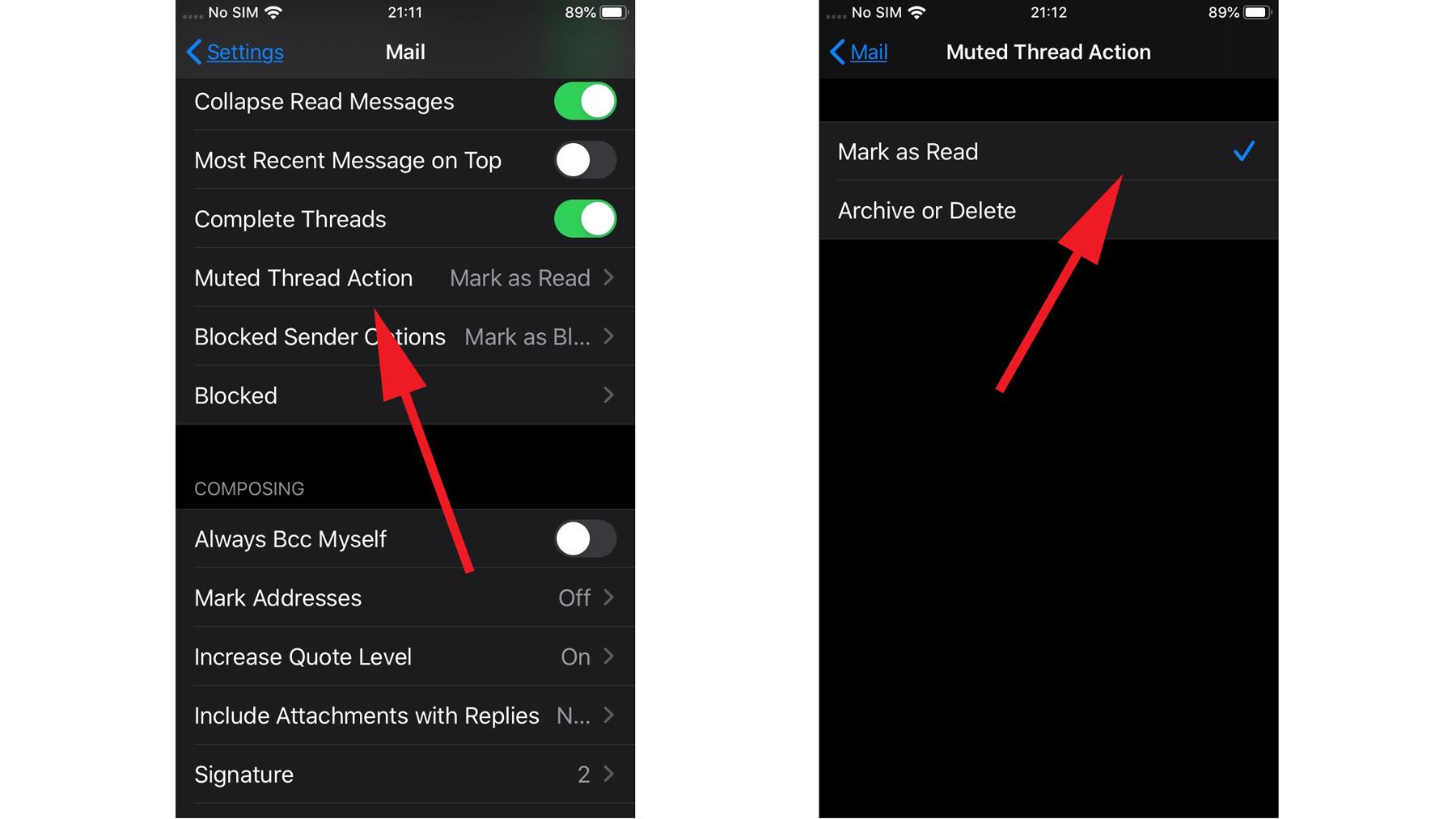 Cómo silenciar una conversación de correo electrónico en iOS 13: Acción de silencio del hilo
