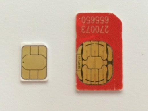 Cómo cortar una tarjeta SIM y hacer una nano-SIM para iPhone y iPad: Nano-SIM en comparación con la tarjeta SIM