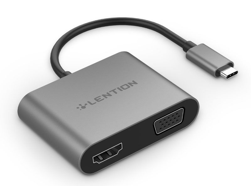 Adaptador Lention USB-C a VGA