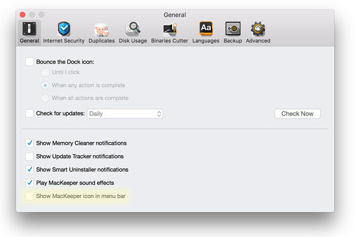 Cómo desinstalar MacKeeper en Mac: preferencias de la barra de menú