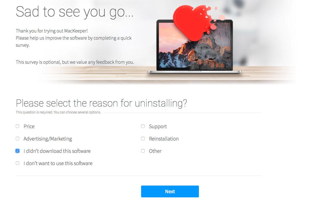 Cómo desinstalar MacKeeper en Mac: salir de la encuesta