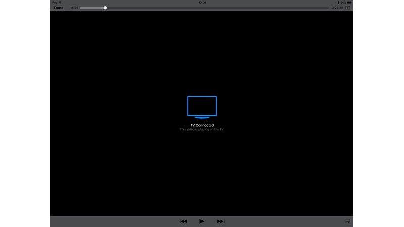 Cómo conectar un iPad o iPhone a un televisor: iPad muestra el mensaje de TV conectado