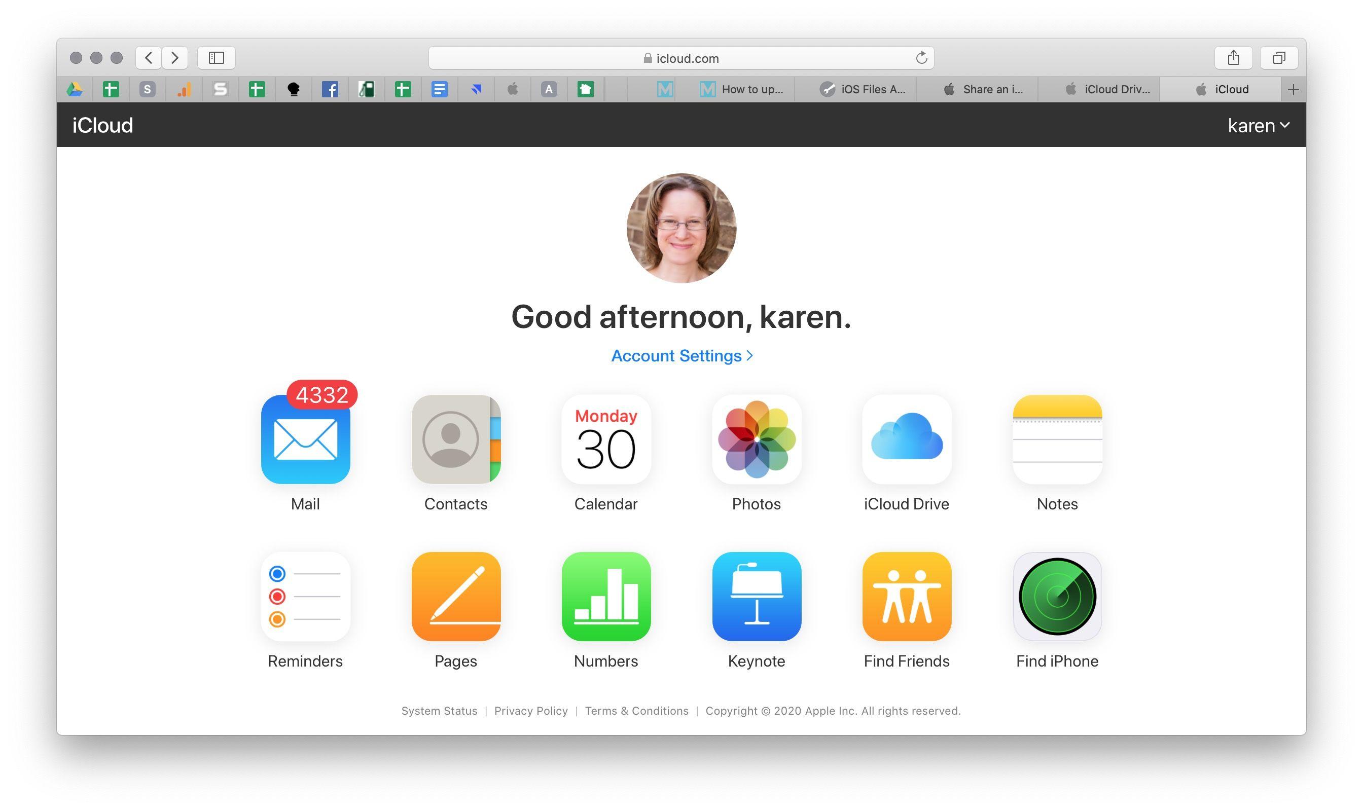 ICloud Drive en línea en el navegador