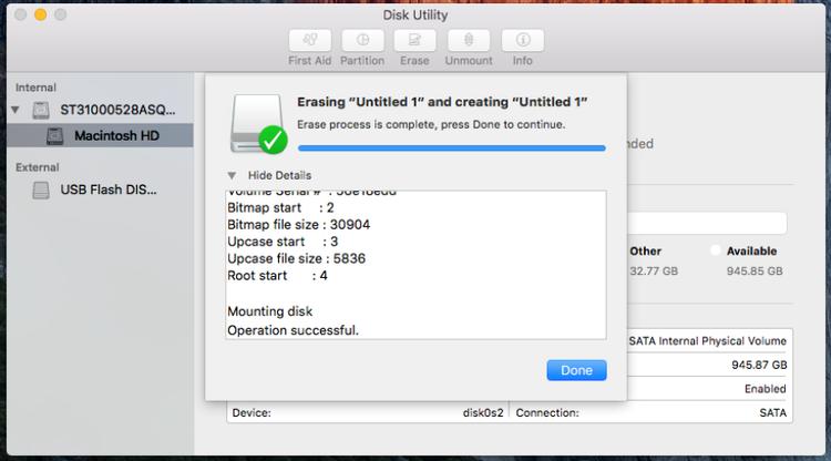 Formatear una unidad de almacenamiento para Mac - Formateado