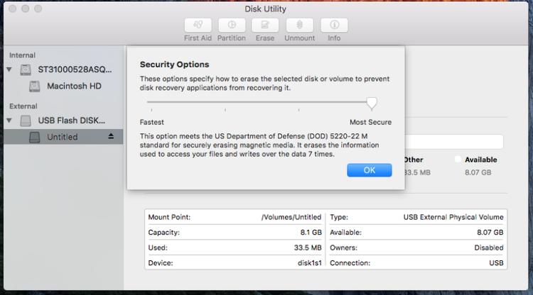 Formatear una unidad de almacenamiento para Mac - Seguridad