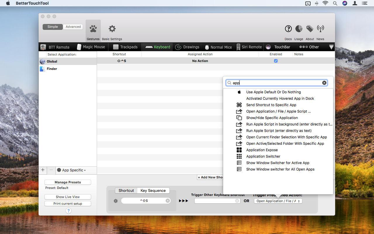 Cómo abrir cualquier aplicación o carpeta de Mac con accesos directos personalizados: acción BetterTouchTool