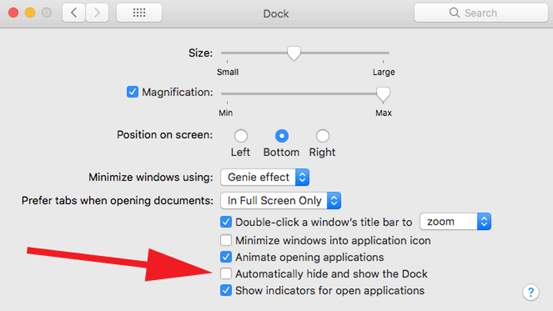 Cómo arreglar un Dock que desaparece en Mac: Preferencias del sistema