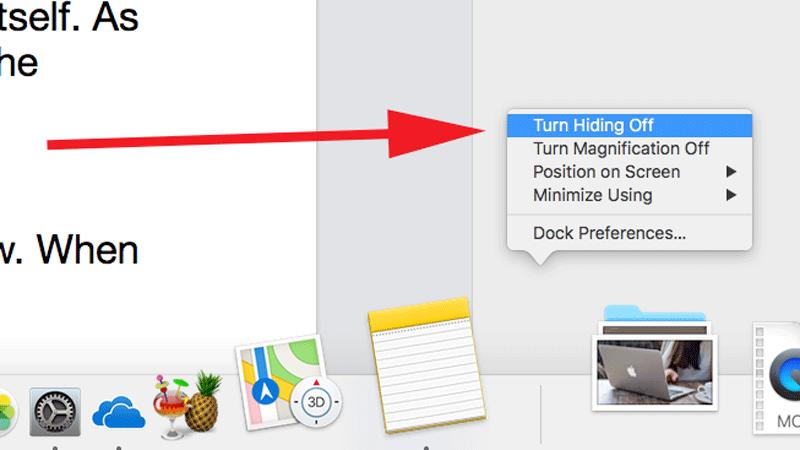 Cómo reparar un Dock que desaparece en Mac: haga clic con el botón derecho en el Dock