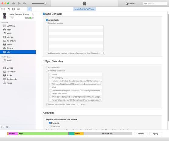 Transferir contactos usando iTunes