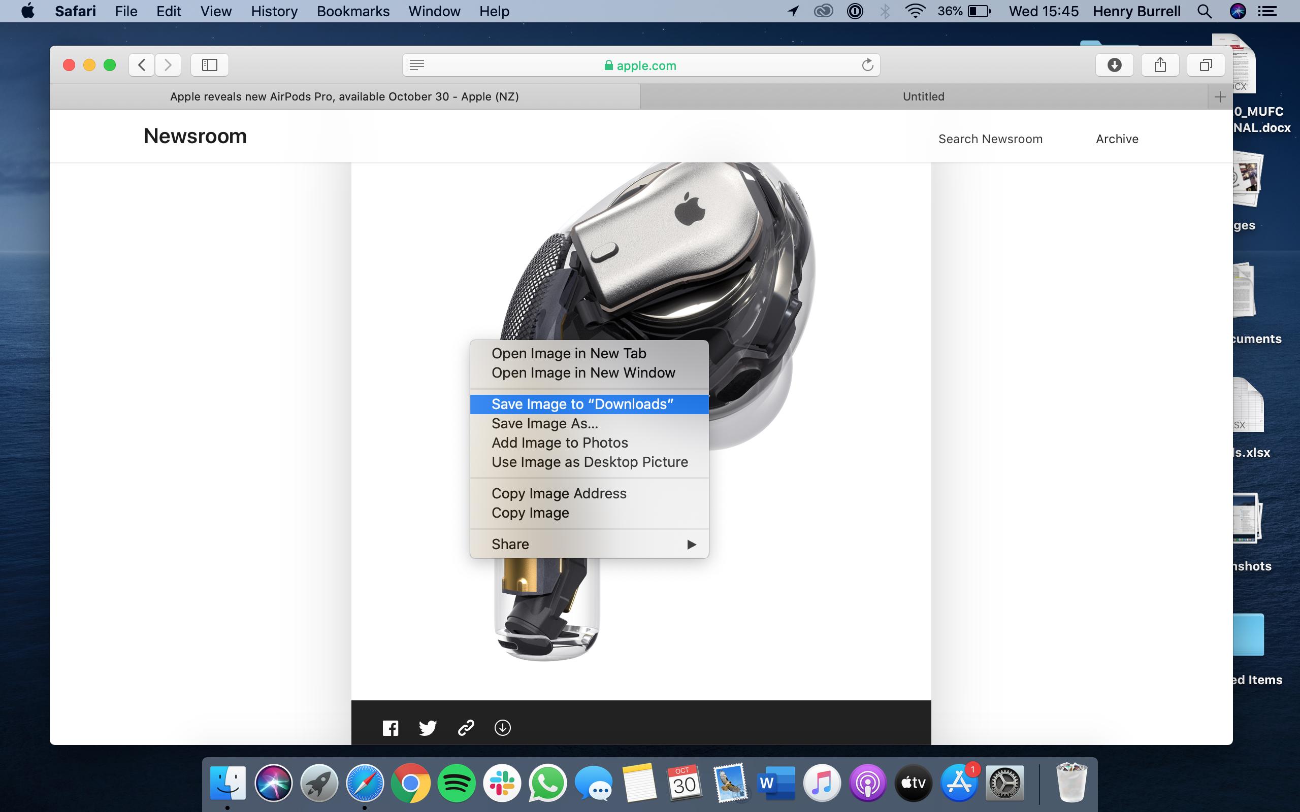 Haga clic derecho para guardar la imagen en Safari en Mac