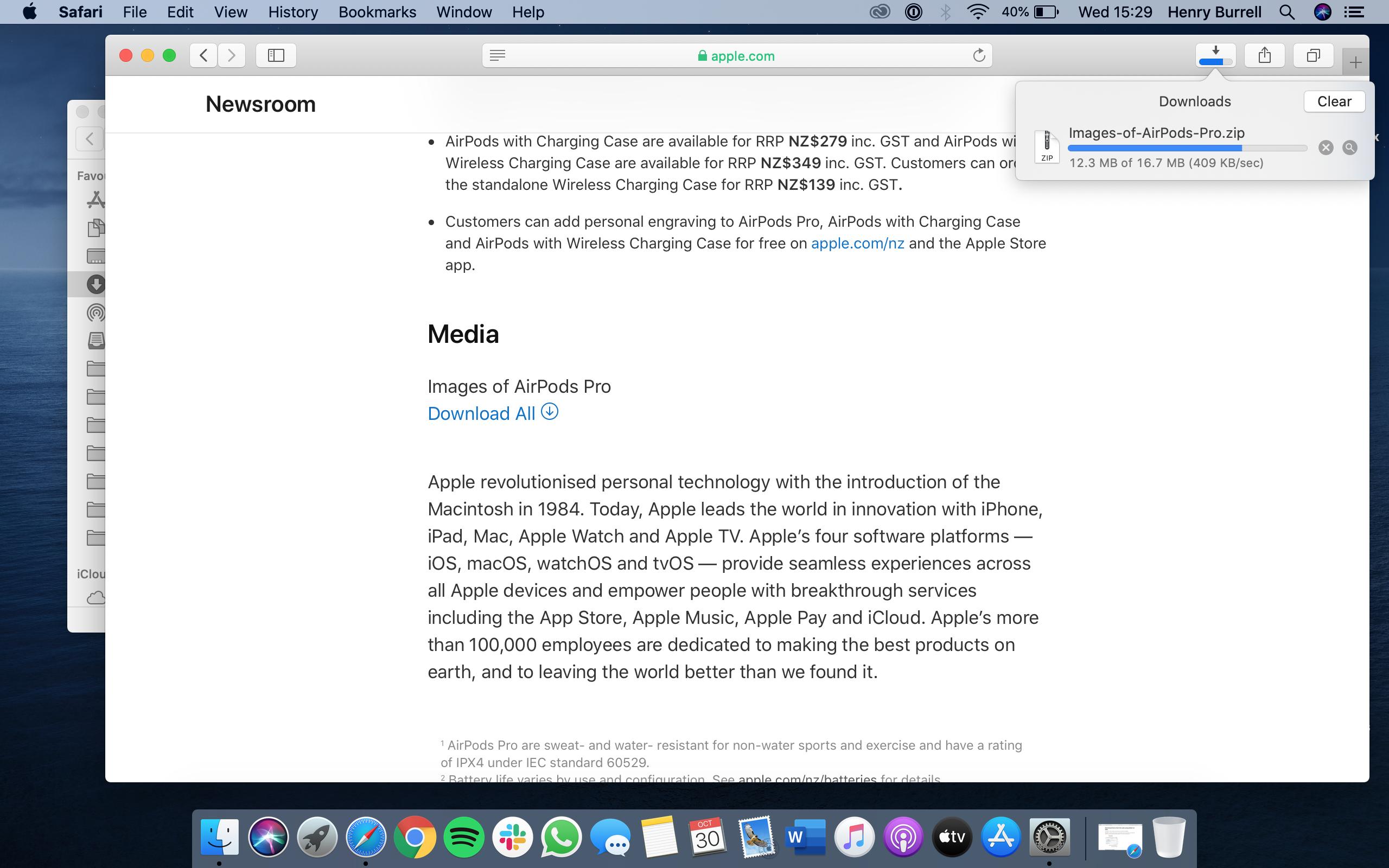 Estado de descarga en Safari en Mac