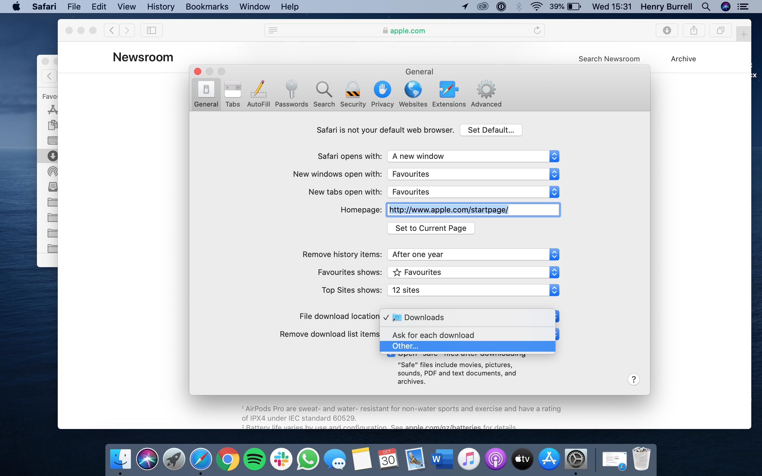 Cambiar la ubicación para guardar las descargas en Mac