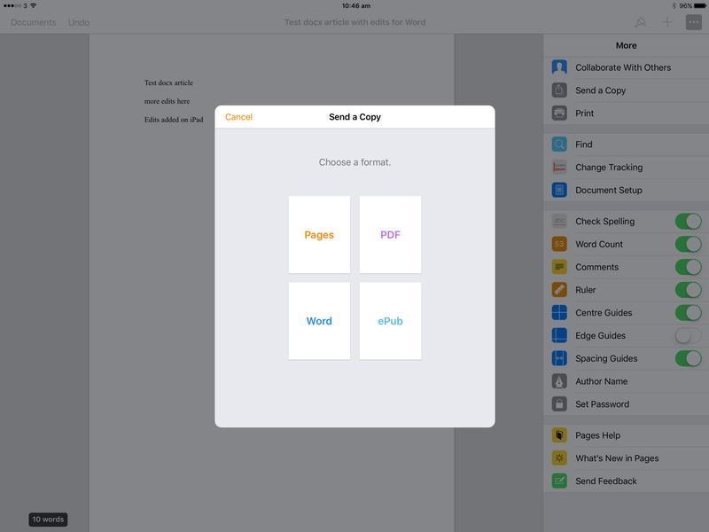 Cómo editar un archivo .docx en iPad: Enviar copia