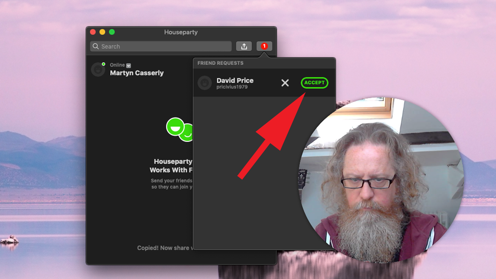 Cómo configurar y usar Houseparty en Mac: Aceptar solicitudes de amigos