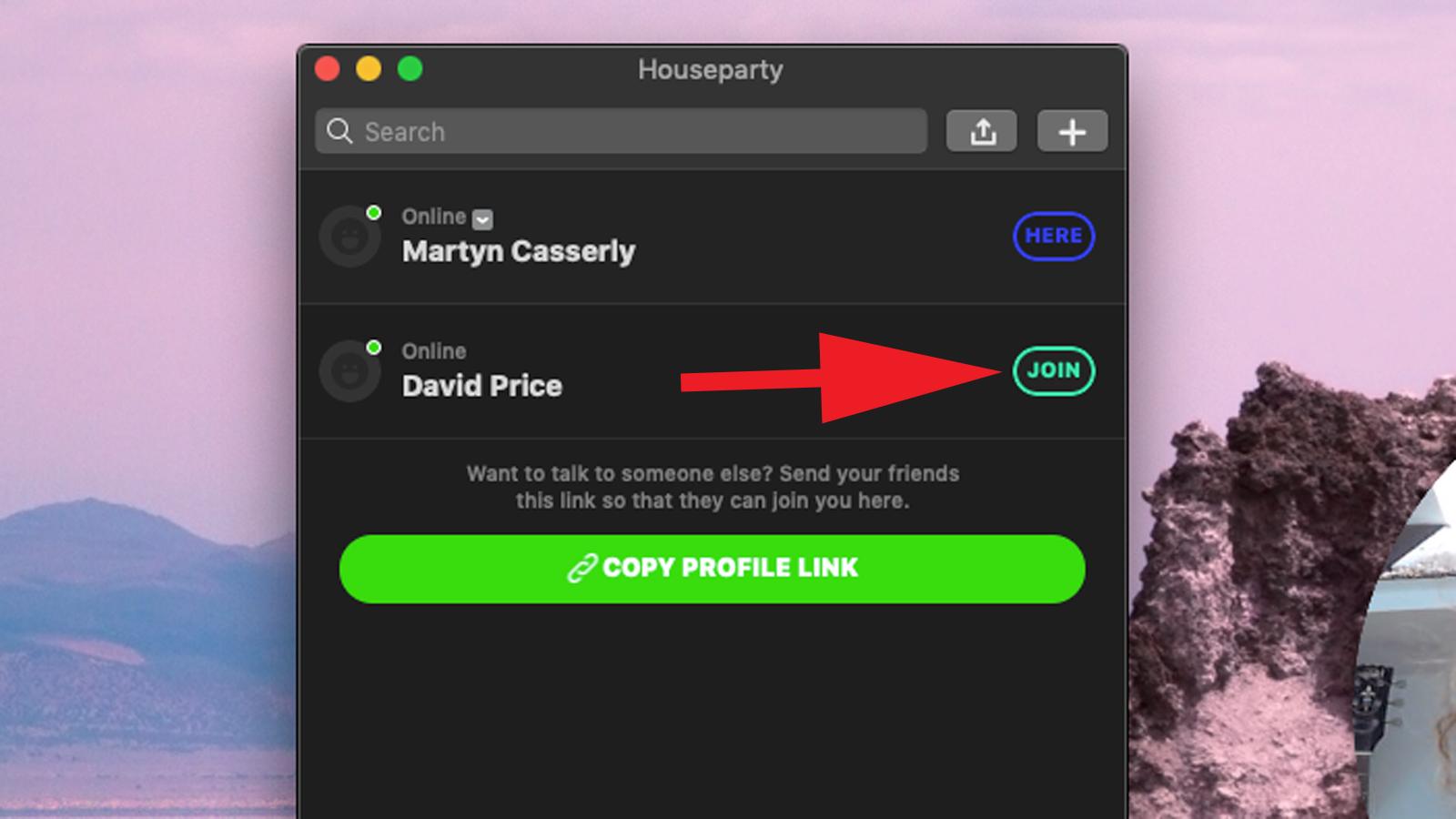 Cómo configurar y usar Houseparty en Mac: unirse a un chat