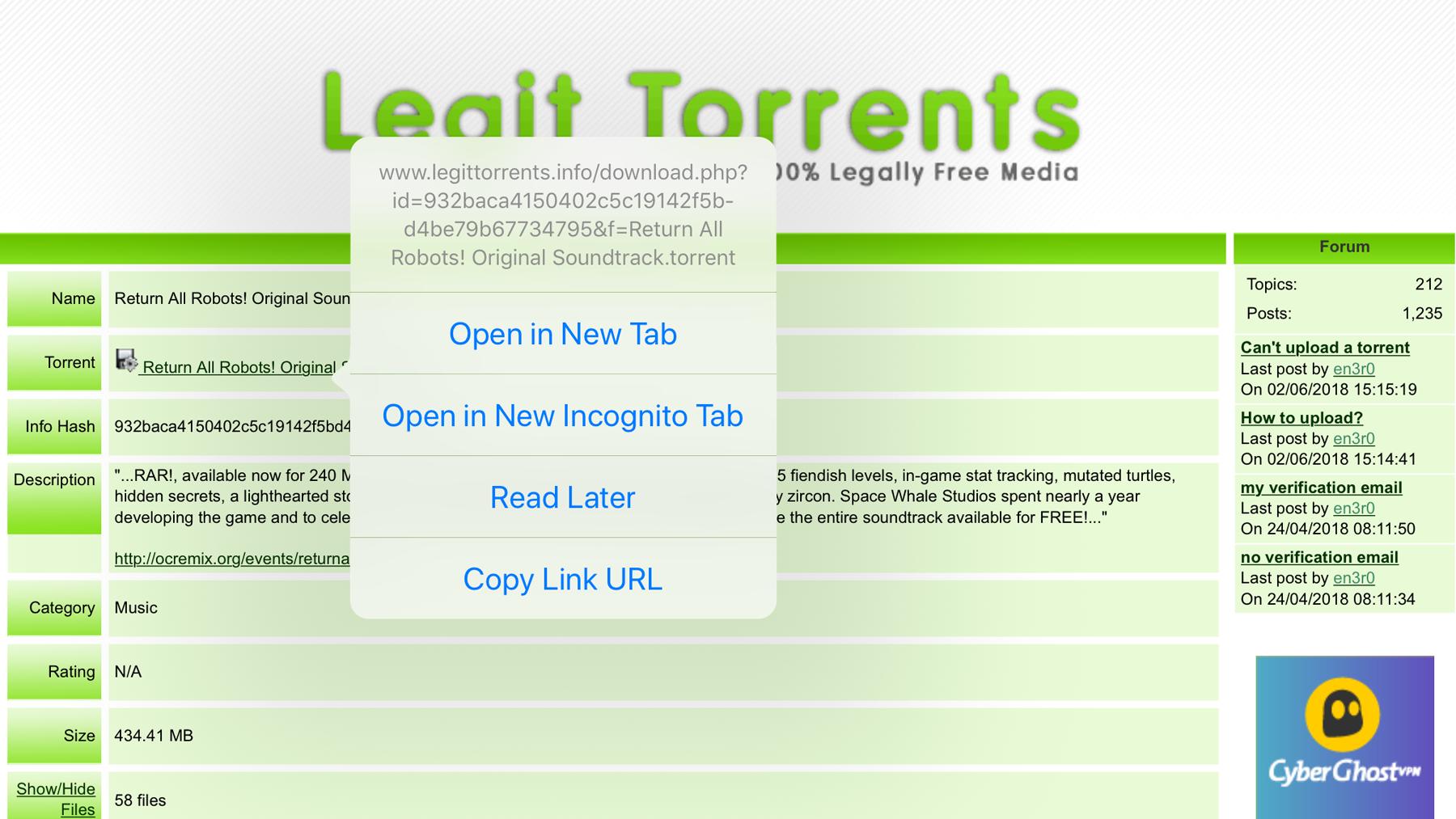 Cómo descargar torrents en iPad sin jailbreak: abrir en una nueva pestaña