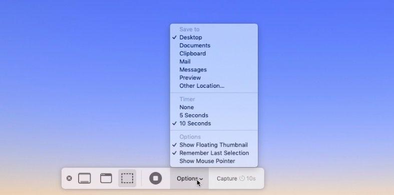 Cómo cambiar dónde guardar la captura de pantalla Mojave