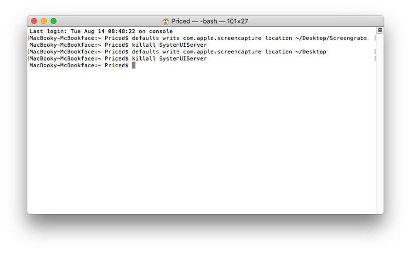 Cómo cambiar dónde se guardan las capturas de pantalla de Mac: Terminal