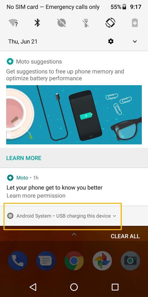 Cómo conectar un teléfono Android a una Mac y transferir archivos: panel de notificaciones