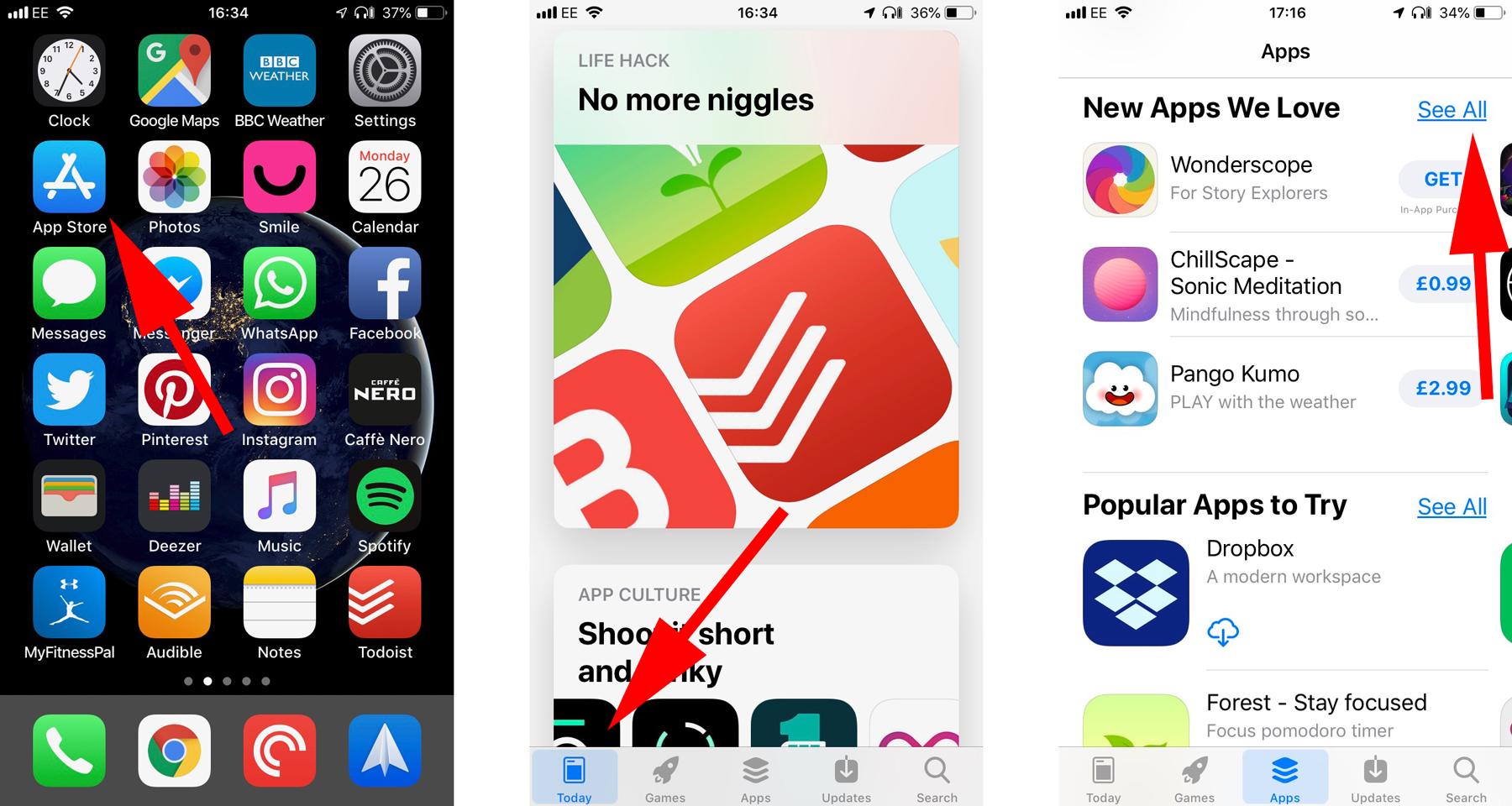 Cómo descargar aplicaciones en iPhone o iPad: Abrir la tienda