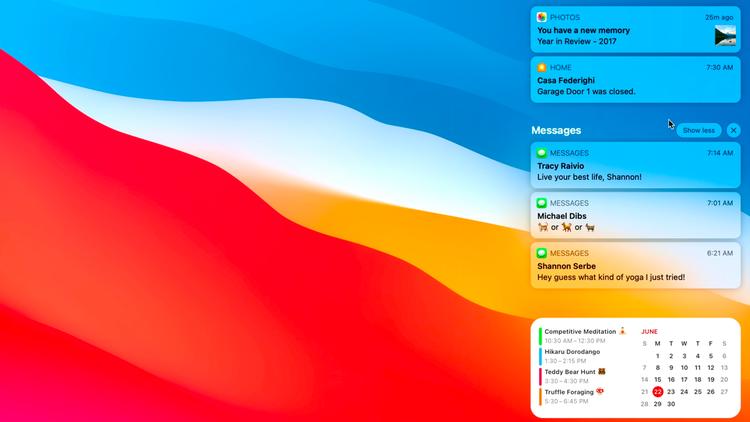Cómo usar widgets y el centro de notificaciones en Mac: Centro de notificaciones