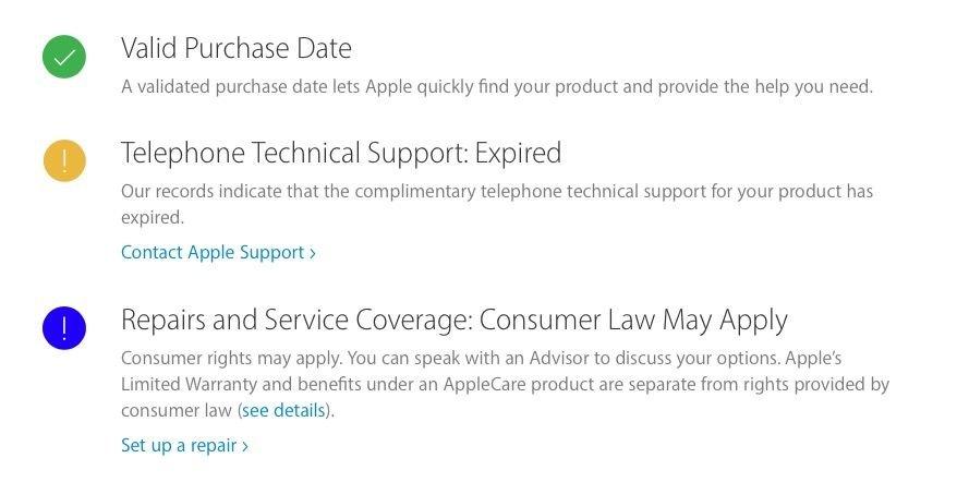 Estado del servicio de MacBook