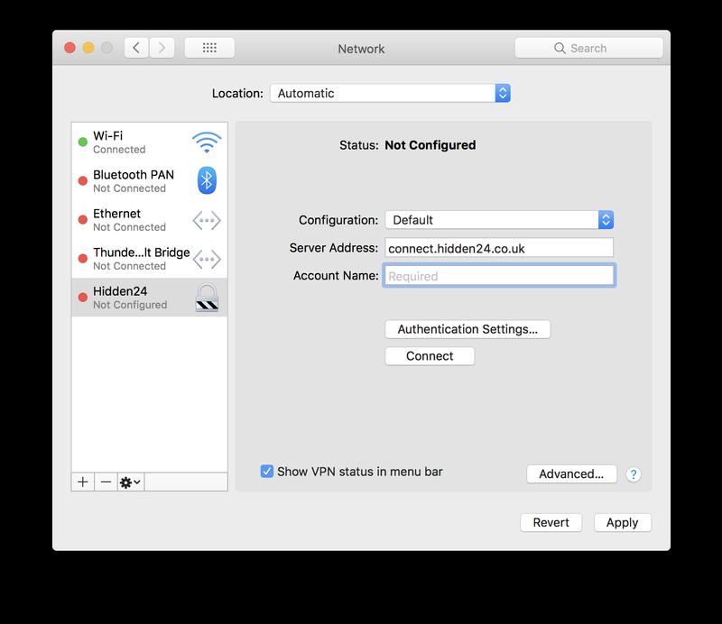 Complete los detalles de la VPN